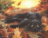 Charlie - 8 x 10 Print of Original Acrylic Black Cat Painting by Carolee Clark