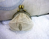 Antique Nottingham Lace -Coin Purse  - Handmade & Unique