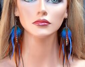 Blue Mountain Long Feather Earrings- Ready to ship