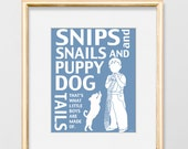 nursery wall art boy, nursery decor, boy and dog, art for kids room, blue art, baby shower gift, Snips and snails and puppy dog tails