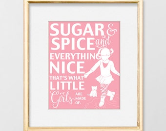 nursery wall art girl, nursery decor, quote prints, kitten, pink art, baby shower gift, art for girls, Sugar and Spice And Everything Nice,