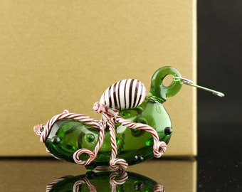 Octopus Christmas Pickle Ornament Hand Blown Glass in Emerald Green & Red and White swirl, Made to Order