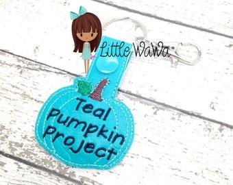Teal Pumpkin Project Snap Tab - Teal Pumpkin - Teal Pumpkin Key chain - Food Allergy Awareness - Pumpkin Key Chain - Awareness Key Chain