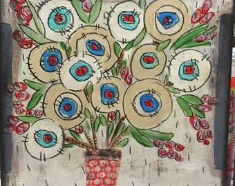 Blues & white - red -Quilted flowers - folk art