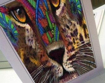 greeting card print of original art-leopard Zentangle