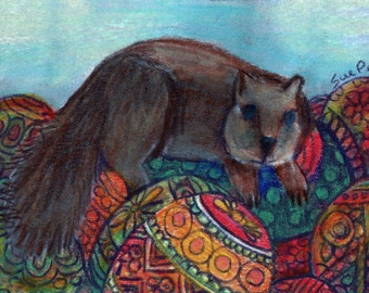 original art  aceo drawing squirrel with eggs
