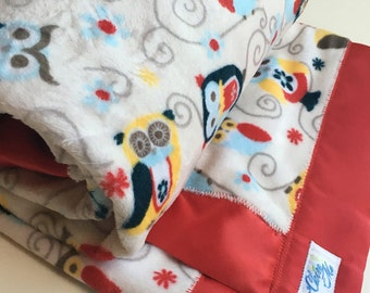 Owl Baby Blanket Minky Gender Neutral red and natural