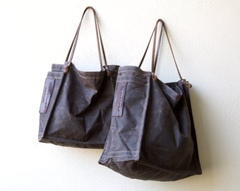 FARMERS MARKET TOTE - waxed canvas and leather - ships today