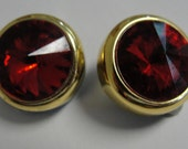 Round Red Gold Tone Acrylic Rhinestone Clip Earrings