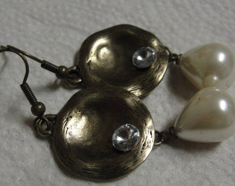 Goldtone Rhinestone Simulated Pearl Dangle Pierced Earrings