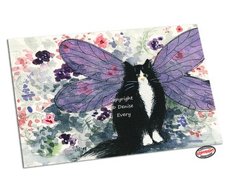 Cat Art Print ACEO Tuxedo Maine Coon Kitty Fairy Cat Art ACEO cat aceo cat lover tuxedo cat art fairy angel cat gift by Denise Every