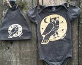 Grey Owl Bodysuit and Hat Set