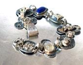Sterling Silver Bracelet, Charm Bracelet Sterling Silver, Handmade Silver Gold Stones Bracelet, Hammered Silver, Textured Silver Jewelry