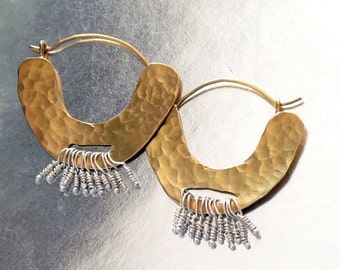 Gold Hoop Earrings, Hammered Gold Earrings, Tribal Jewelry