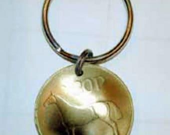 Coin Jewelry-Irish Horse Key Ring-golden hunter