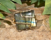 Uniquely Striped Labradorite Ring - Gold Filled