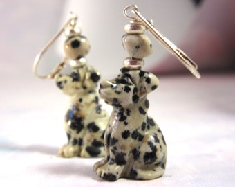 Dalmation jasper earrings -  drop earrings - dog jewelry - dangle earrings - artisan jewelry - gift for dog lovers