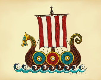 ACEO Viking Ship Art Print Nordic Scandinavian Dragon Ship