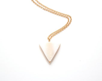 Minimalist Long Mother of Pearl Triangle Necklace - Brass, Gold Fill or Sterling Silver