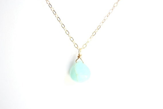 Minimalist Mint Peruvian Opal Briolette Necklace - Brass, Gold Fill or Sterling Silver