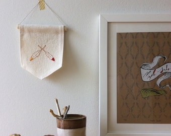 Feather Embroidery; Autumn Decor; Modern Folk Art; Textile Wall Hanging; Indian Summer; Wall Art; Tribal Boho Decor; Wall Flag; Fall Colors