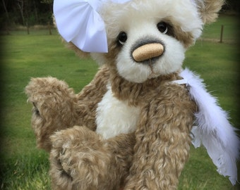 Angel KIT - make your own 16IN ivory and caramel mohair artist angel bear