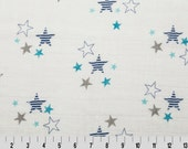 Double Gauze Fabric, Lightweight fabric for Baby Swaddle blanket, Baby Gift, Cotton fabric by Fabric Shoppe. Embrace Star Fabric in Blue