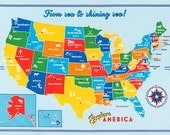 Explore America fabric by Robert Kaufman and Fabric Shoppe - Explore America Panel Map of US in Bright, Wall art  for bedroom or homeschool