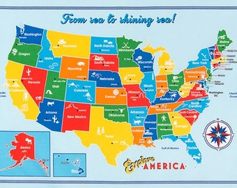 50% offExplore America fabric by Robert Kaufman - Explore America Panel Map of US in Bright, Wall art  for bedroom or homeschool