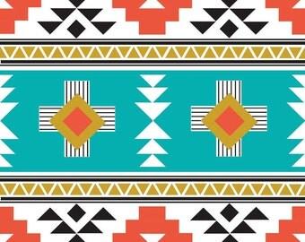 Tribal fabric, Navajo fabric, Modern Fabric, Boy fabric, Quilt fabric, Four Corners, Aqua fabric, fabric by the yard,  Choose your cut