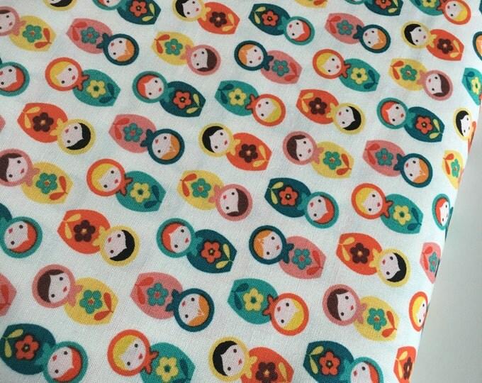 Suzy's Minis fabric, Matryoshka fabric, Doll fabric, Nesting doll, Mini Dolls in Retro, Cotton fabric by the yard, Choose your cut