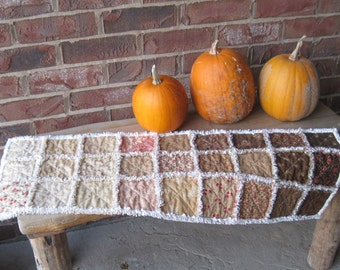 """Rag quilted table runner with Moda fabrics in fall colors. 12"""" x 34"""""""