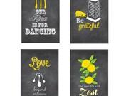 Chalkboard Inspired Kitchen Art Set, Funny Kitchen Signs, Set of Four 4x6 art prints, Chalkboard, Funny Kitchen Ar