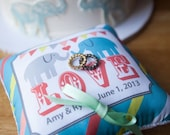 Custom Ring Bearer Pillow - Carnival Theme - Banner Bunting Pillow - Elephant - Circus - ANY color scheme