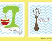Funny Kitchen Art Print Set - Set of Two 8x10 Art Prints - Whisk - Mixer - Whip it, Spin Me