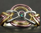 Tricolor gold 6 band puzzle ring with alexandrite mystic topaz in solid gold - 10kt, 14kt, 18kt, white gold, rose gold, yellow gold