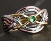 Natural emerald tricolor gold 6 band puzzle ring - Solid gold 10kt, 14kt or 18kt