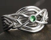 Emerald cabochon handmade 6 band puzzle ring in sterling silver
