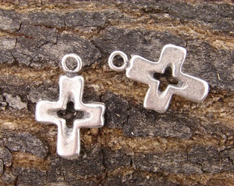 Silver Cross Charms, Mykonos Cross Charms, Cut out Cross charms, Antiqued Silver color Charms, 25mm 25 mm