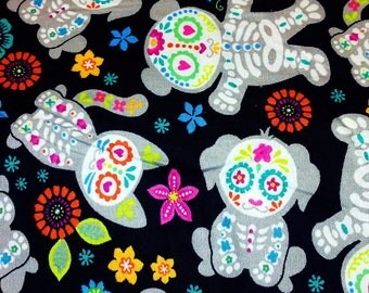 Florescent Kawaii Teddy Bear, Cat and Dog Day of the Dead Skeleton Cotton Print Fabric
