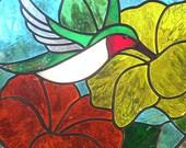 Stained Glass Ruby Throated Hummingbird Suncatcher Yellow Orange Flowers
