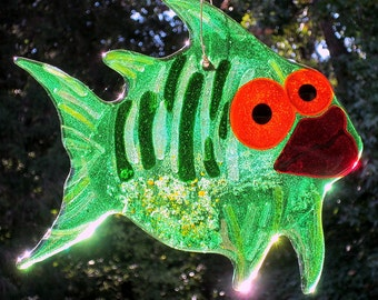 Green Fused Glass Fish Suncatcher or Wall Hanging Glowing Orange Eyes