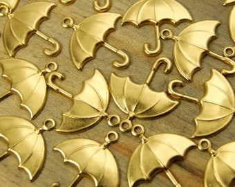 Umbrella Charms - 12 pcs - Yellow Brass - Patina Queen - Raw By the Dozen