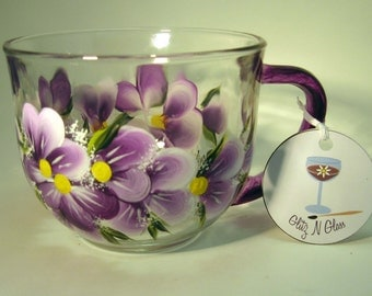Purple Violets Hand Painted Glass Tea Cup