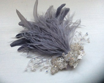 New handmade silver grey feather embroidered fascinator
