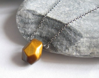 Tiger Eye Necklace, Natural Stone Tigers Eye, Sterling Silver Choker Chain, Crystal Healing, Earthy Necklace, Boho Jewelry