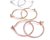 Small Hoop Earrings, Sterling, 14K Pink Gold Fill, 14K Yellow Gold Fill, Simple Hoops for Everyday, Lightweight Hoops, Classic Hoops