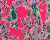 "dragonfruit pink toucan can dobby cotton fabric square 18""x18"" ~ lilly fall 2016 ~ lilly pulitzer"