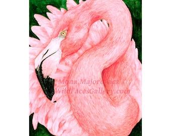 Pink Flamingo Art, Pink Flamingo Print, flamingo art, flamingo painting, bird art, jungle decor, flamingo decor, tropical decor, bird print