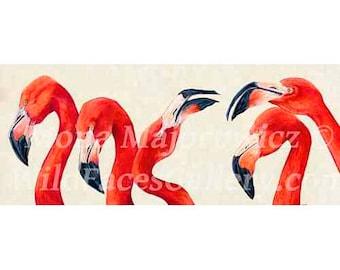 Pink Flamingo Art - Birds Of A Feather, Flamingo Print, flamingo painting, bird art, flamingo print, pink flamingos, flamingo gifts